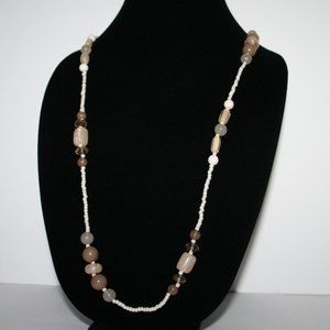 white and cream beaded necklace 32""